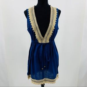 Mud Pie Blue and Cream Embroidered Dress